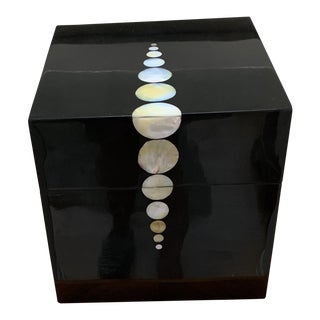 Contemporary Mother-Of-Pearl Black Lacquered Box For Sale