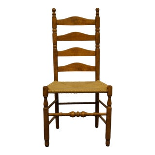 Late 20th Century Ethan Allen Heirloom Nutmeg Maple Ladderback Dining Side Chair For Sale
