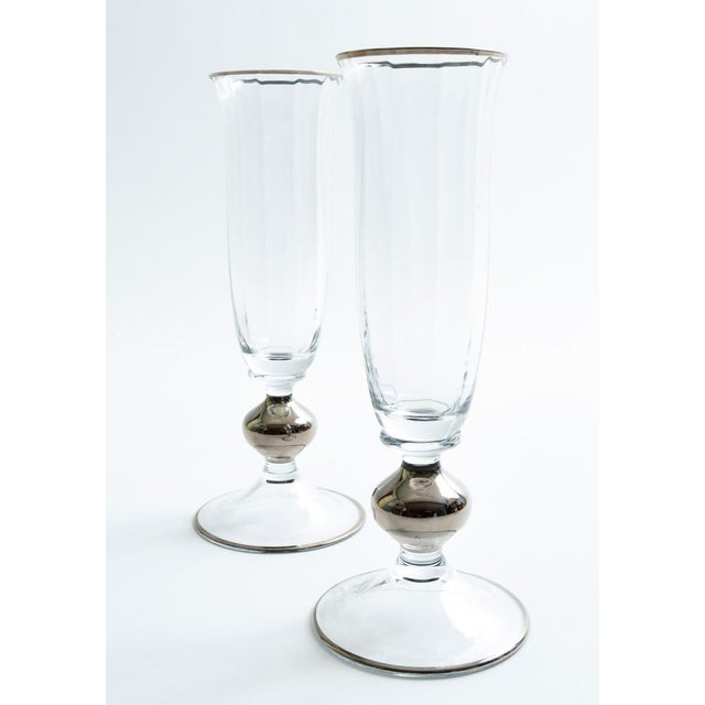 Art Deco Barware Crystal Champagne Flute Set Eight Pieces For Sale - Image 4 of 12