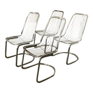 1970's Italian Style Chrome Chairs- Set of 4 For Sale