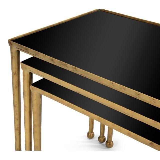 Sarreid Ltd. Gilt Metal Nesting Tables - Set of 3 For Sale - Image 4 of 8