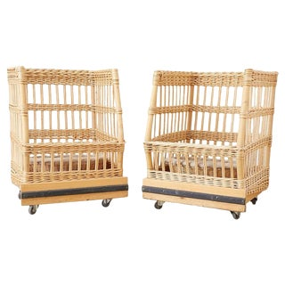 Pair of Wicker Rattan Boulangerie Bread Display Baskets For Sale