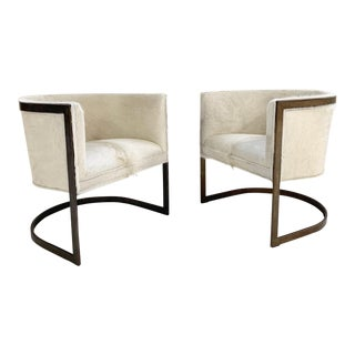 Vintage Brass Cantilever Chairs Restored in Brazilian Cowhide - Pair For Sale