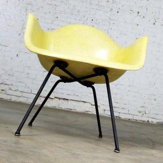 Eames Herman Miller Lax Fiberglass Arm Shell Chair X Base Zenith Rope Edge Yellow Preview