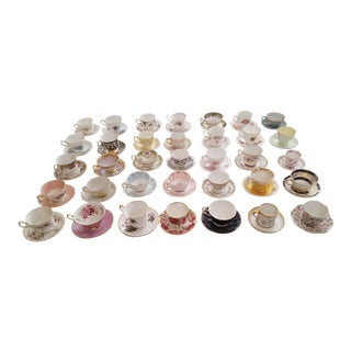 Bone China Teacup Collection - Set of 70 For Sale