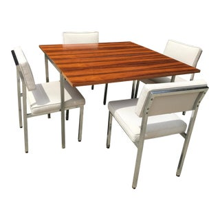 Mid-Century Modern Wilhelm Renz Flip-Top Dining Table With Four Chairs - 5 Pieces For Sale