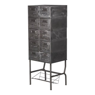 1950s French Mid-Century Industrial Polished Steel File Cabinet For Sale
