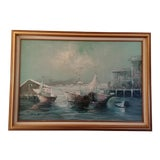 Image of Vintage Mid-Century Marina Signed Oil Painting For Sale