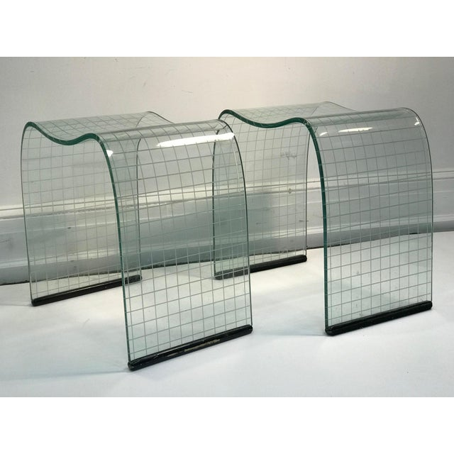 Crystal Late 20th Century Vittorio Livi Curved Glass Crystal Scroll Side Tables - a Pair For Sale - Image 7 of 7