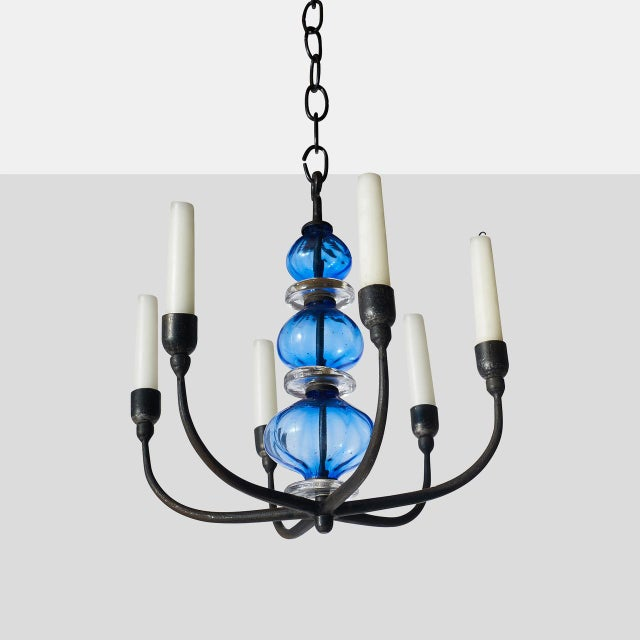 Kosta Boda Chandelier with Six Arms by Erik Hoglund For Sale - Image 4 of 4