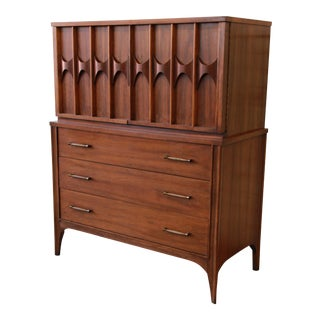 Kent Coffey Perspecta Sculpted Walnut and Rosewood Gentleman's Chest For Sale