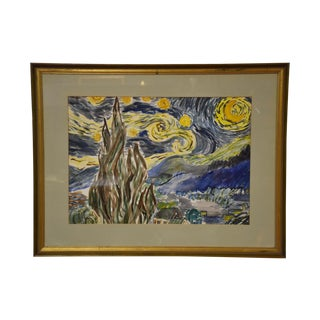 Starry Night Water Color Painting For Sale