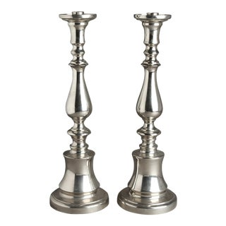 Classical Style Silver Tone Candlesticks - a Pair For Sale