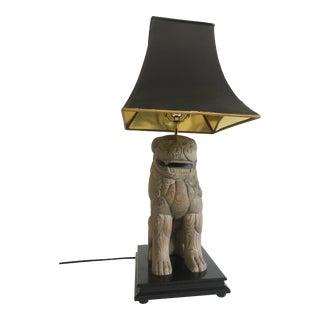 Vintage Sarreid Wood Foo Dog Lamp For Sale