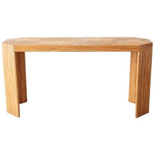 Gabriella Crespi Style Split Bamboo Console Table or Desk For Sale