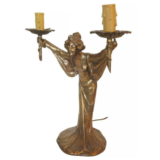 Pair of Bronze Art Nouveau Style Figural Female Candelabra Lamp For Sale In Los Angeles - Image 6 of 9