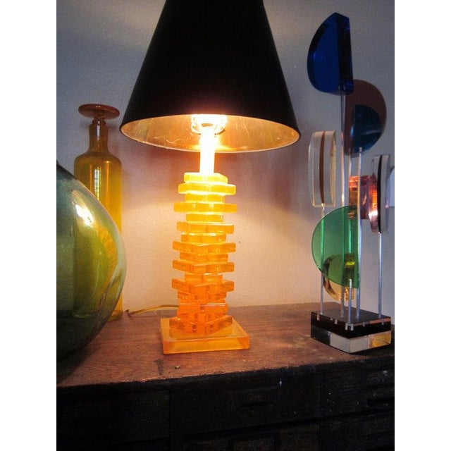 Danish Modern Modernist Orange Stacked Lucite Lamp For Sale - Image 3 of 10