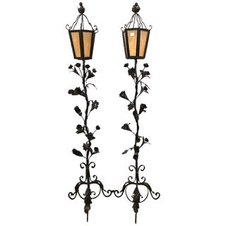 Pair of Black Iron Painted Art Glass Lidded Torchieres or Lanterns For Sale