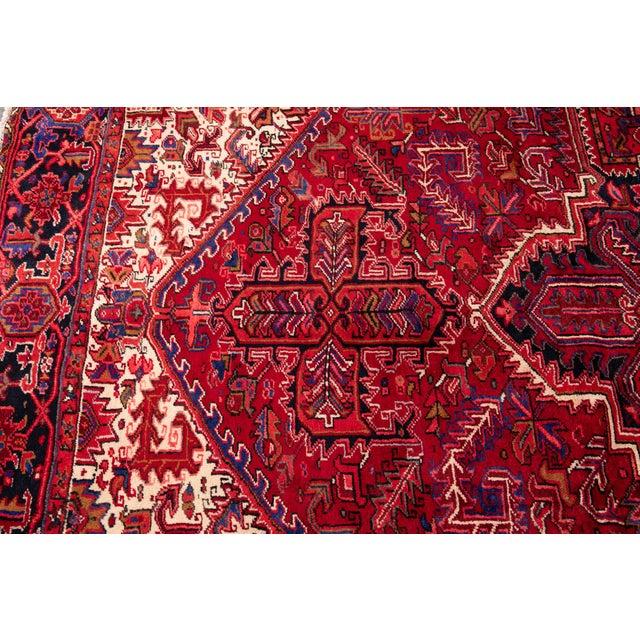 "White Vintage Persian Heriz Rug, 10'2"" X 12'10"" For Sale - Image 8 of 12"