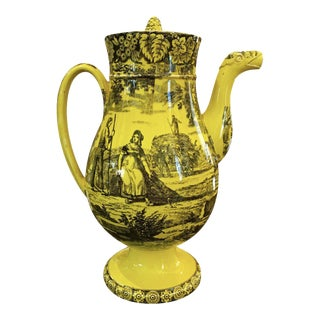 1815-1820 Canary Yellow Creil Coffee Pot For Sale
