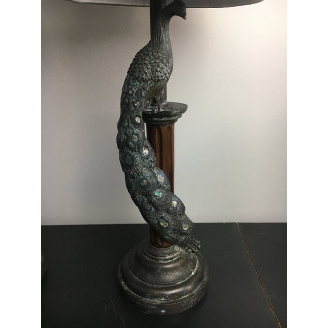 Maitland-Smith Peacock Table Lamps - a Pair - Image 6 of 7