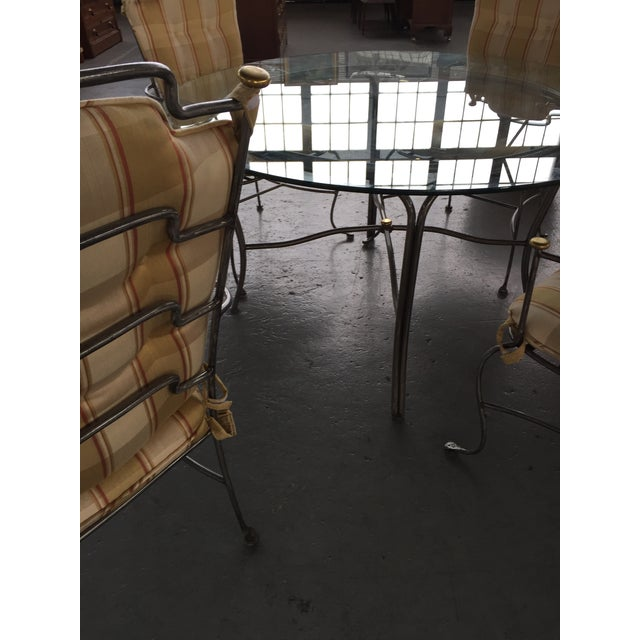 Round Glass Table and Brass & Brushed Metal Chairs - Set of 5 For Sale In San Francisco - Image 6 of 8