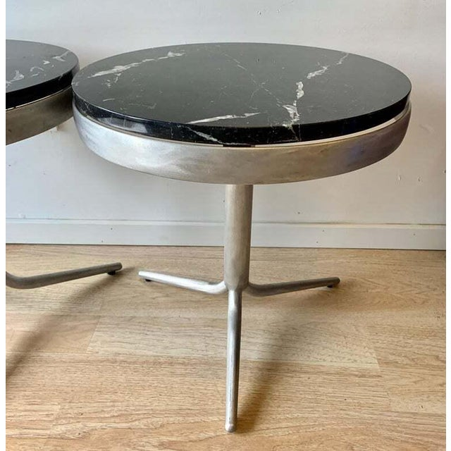 Aluminum and Marble Side Tables - a Pair For Sale - Image 4 of 12