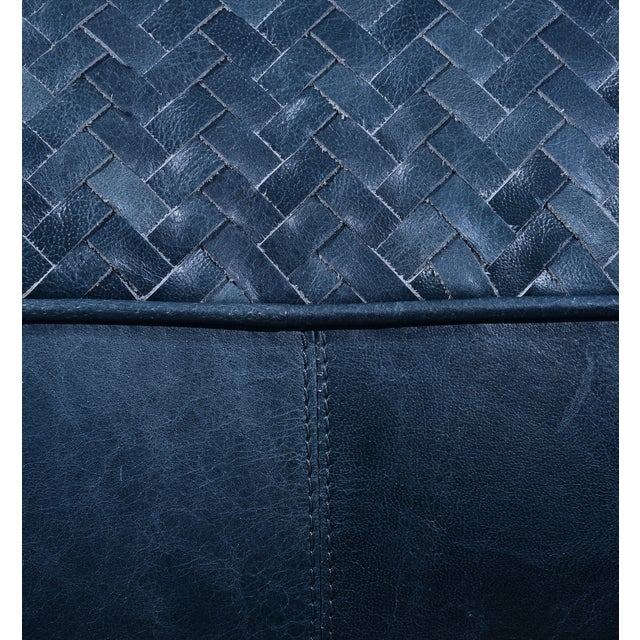 Contemporary Leather Upholstered Woven Floor Pouf For Sale - Image 3 of 4
