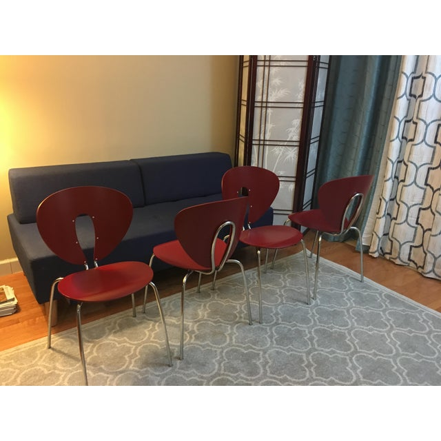 Design Within Reach Red Globus Chairs - Set of 4 - Image 2 of 6