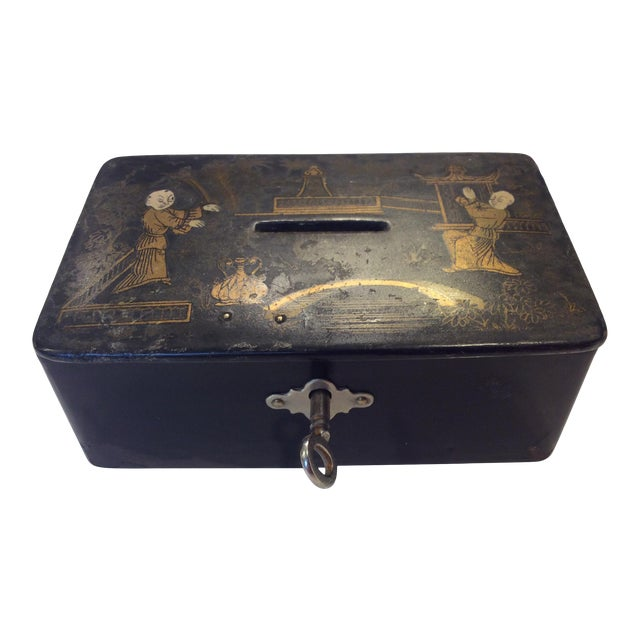 19th Century Antique Black Lacquer Chinoiserie Money Box With Key For Sale