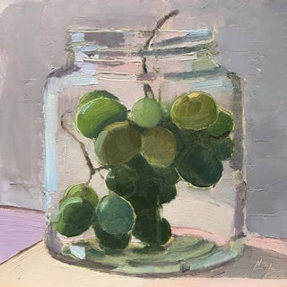 """Grapes in a Jar"" Original Oil Painting"