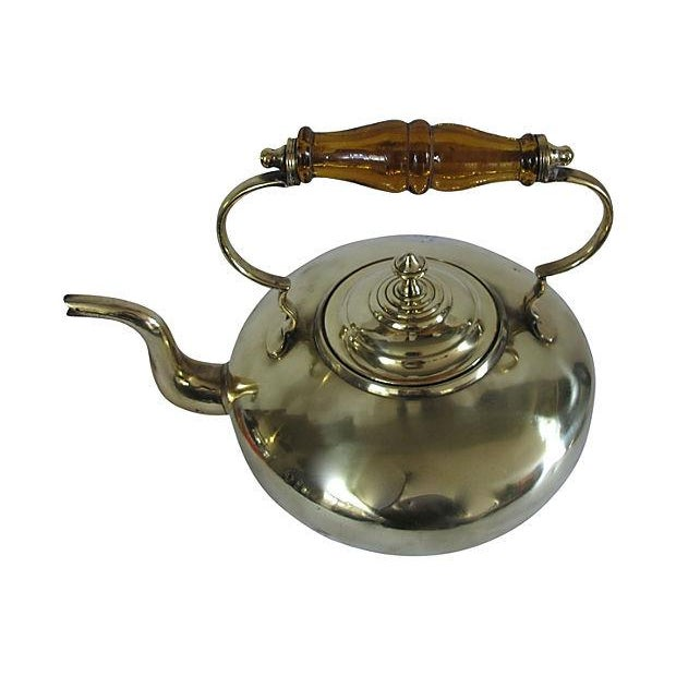 Antique Glass Handle English Brass Tea Kettle - Image 2 of 3