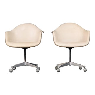 1960s Vintage Eames Fiberglass and Leather Shell Chairs- A Pair For Sale