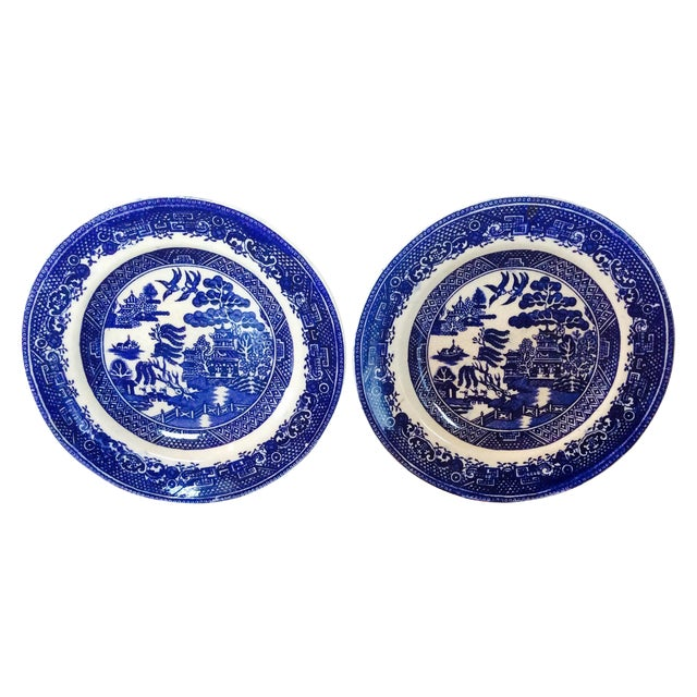 Antique Willow Adderley Plates - A Pair - Image 1 of 10