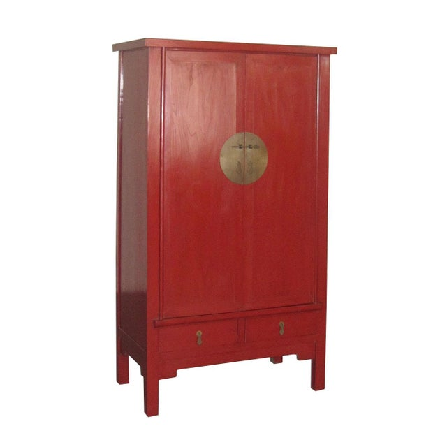 Chinese Ming-Style Red Lacquer Cabinet Armoire - Image 1 of 8
