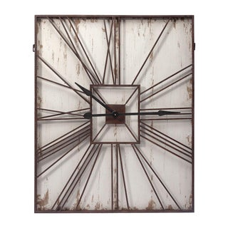 Large Rectangular Antique Wall Clock For Sale