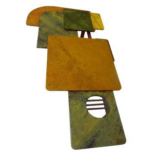 Designer Original 1980s Modernist Fine Art Wood Glass and Metal Coffee Table For Sale