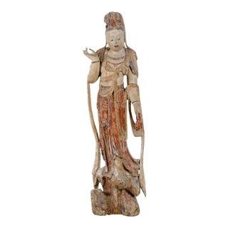 Antique Carved Bodhisattva Guanyin Sculpture For Sale