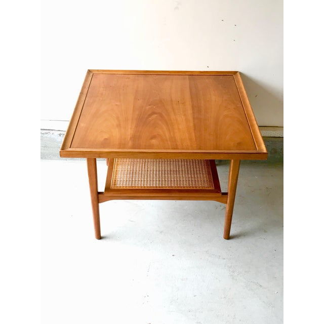 1960s Vintage Drexel Side Table With Caned Shelf For Sale In Los Angeles - Image 6 of 6