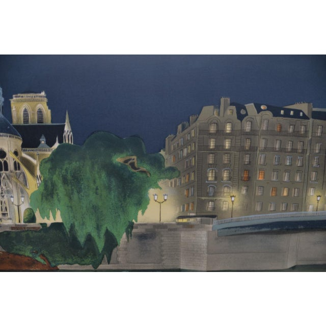 "Blue Vintage ""Notre-Dame De Paris"" Color Lithograph Signed / Numbered C.2004 For Sale - Image 8 of 10"