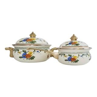 Vintage Asta German Dutch Cookware Floral Amsterdam Enamelware - a Pair For Sale
