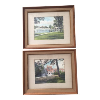 Mid Century Ohio Hand Painted Prints - a Pair