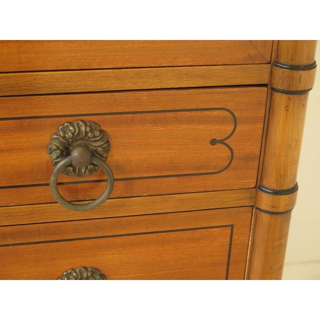 1950s Regency Kittinger Satinwood Chiffonier High Chest For Sale - Image 9 of 11