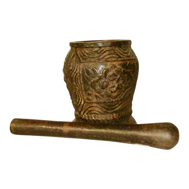 Cast Iron Mortar and Pestle Eastern European Antique For Sale