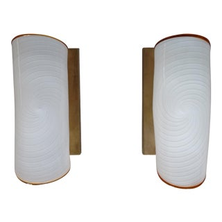 Modern Art Deco Murano Glass and Brass Sconces - a Pair For Sale