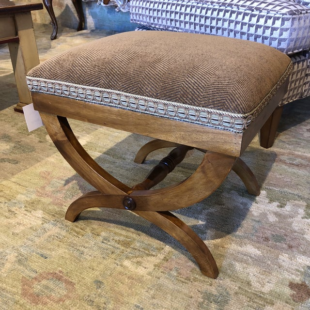 Italian Upholstered Walnut Bench For Sale - Image 11 of 11