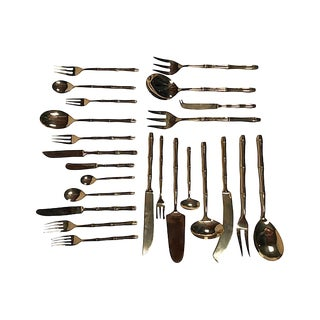 Bamboo-Style Bronze Flatware, 156 Pcs For Sale