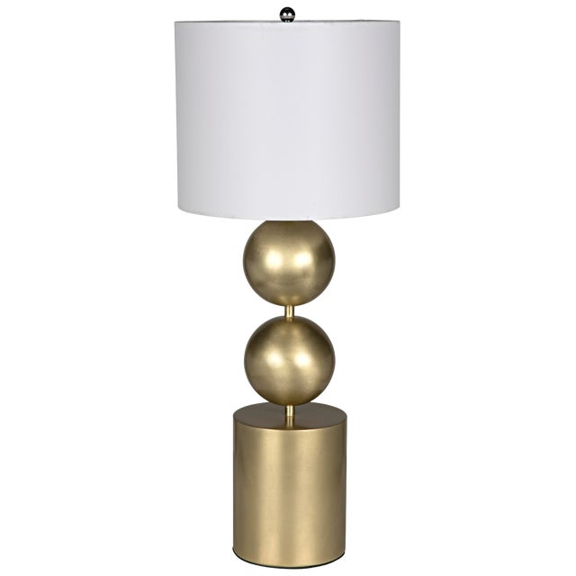 Tulum Table Lamp With Shade, Antique Brass For Sale