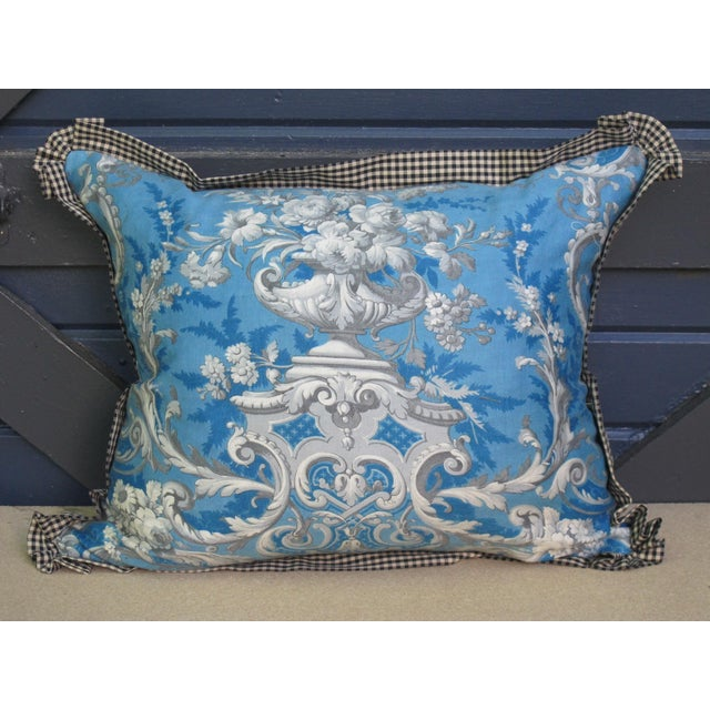 2020s Blue Pillow Made with Antique Fabric For Sale - Image 5 of 5