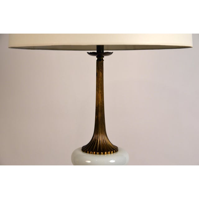 Elegant Gilt Bronze and Opaline Tassel Lamp in the Style of Tony Duquette For Sale In Los Angeles - Image 6 of 10